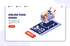 Grocery food delivery. Online order with mobile app. Internet food restaurant isometric concept stock illustration