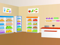Grocery food store shop interior illustration Stock Images