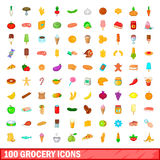 100 grocery icons set, cartoon style Stock Images