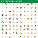 100 grocery icons set, cartoon style. 100 grocery icons set in cartoon style for any design illustration stock illustration