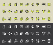Grocery icons set Stock Photos