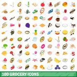 100 grocery icons set, isometric 3d style. 100 grocery icons set in isometric 3d style for any design illustration royalty free illustration