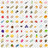 100 grocery icons set, isometric 3d style. 100 grocery icons set in isometric 3d style for any design vector illustration Stock Photos