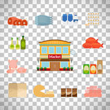 Grocery icons set on transparent background Royalty Free Stock Images