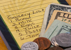 Grocery List. List of items needed from the grocery store with money Stock Photo