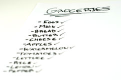 Grocery list Royalty Free Stock Photo