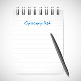 Grocery list notepad illustration design Royalty Free Stock Photos