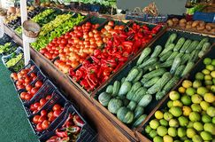 Grocery market fruits vegetabes greece Stock Photography