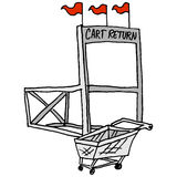 Grocery market shopping cart return station Royalty Free Stock Image