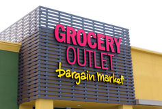 Grocery Outlet storefront and sign Royalty Free Stock Image