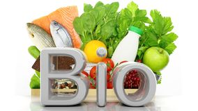 Grocery paper bag closeup with healthy products and Bio 3D word Royalty Free Stock Photo