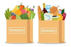 Grocery in a paper bag and vegetables and fruits in paper bag. royalty free illustration