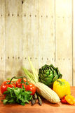 Grocery Produce Items on a Wooden Plank Stock Images