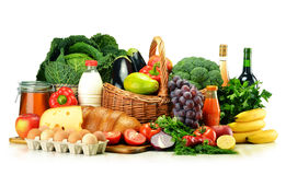 Grocery products including vegetables, fruits, dairy and drinks Royalty Free Stock Photography