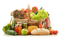 Grocery products in shopping basket Royalty Free Stock Image