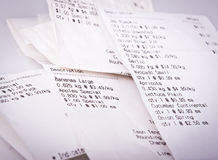 Grocery Receipts Stock Photo