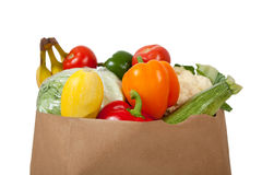 Grocery sack full of vegetables Stock Images