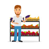 Grocery salesperson with vegetables. Grocery store male salesperson against vitrine with vegetables and fruit in flat style. Smiling gesturing man greengrocery royalty free illustration