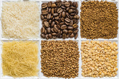 Grocery set of food products. Rice, roasted coffee beans, freeze-dried instant coffee, vermicelli, buckwheat, dried peas Royalty Free Stock Photo