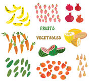 Grocery set with fruits and vegetables Royalty Free Stock Photo