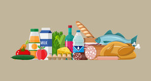 Grocery set. Meat, fish, salad, bread, milk. Grocery set. Including meat fish, salad, bread, milk products. Vector illustration in flat style royalty free illustration
