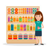 Grocery shelves with foods and female salesperson. Groceries store shelves and female salesperson. EPS10 vector illustration in flat style royalty free illustration