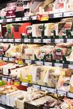 Grocery shelves interior of the popular in Italy grocery Penny Market Express. MILAN, ITALY - 2 JUNE, 2018: Grocery shelves interior of the popular in Italy stock photos