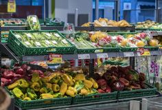 Grocery shelves interior of the popular in Italy grocery Penny Market Express. MILAN, ITALY - 2 JUNE, 2018: Grocery shelves interior of the popular in Italy royalty free stock photography
