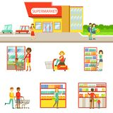 Grocery Shop Exterior And People Shopping Set Of Illustrations. Flat Cartoon Minimalistic Vector Drawings On White Background royalty free illustration