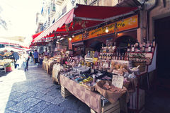 Grocery shop at famous local market Capo in Palermo, Italy Stock Image