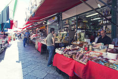 Grocery shop at famous local market Capo in Palermo, Italy Stock Photos