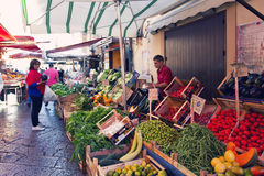 Grocery shop at famous local market Capo in Palermo, Italy Stock Images