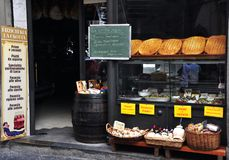 Grocery shop in Italy. Italian grocery shop in Lucca, Italy. Focaccia and organic food in Tuscany. Mediterranean diet concept royalty free stock photo