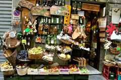 Grocery shop in Italy. Italian grocery shop in Florence, Italy. Organic food in Tuscany. Mediterranean diet concept stock photo