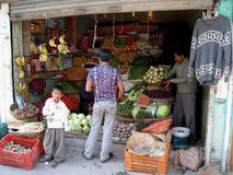 Grocery shop in Keylong stock photography