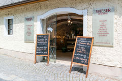 Grocery shop and liquor store in Durnstein, Wachau, Austria Royalty Free Stock Photos