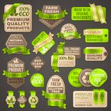 Grocery shop organic vector signs. Supermarket package labels for healthy fresh vegetables. Badge and label for shopping tag illustration Royalty Free Stock Photos
