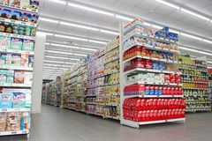 Grocery shop, shelves and products item Stock Photo