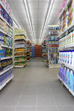 Grocery shop. Shelves with products in a new supermarket opening soon in Rome (Italy Stock Photo