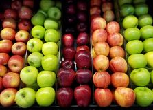 Grocery shop theme. Fresh colorful apple background. Row of clean apple stock images