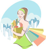 Grocery shopping. Young woman after grocery shopping stock illustration