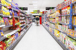 Grocery shopping aisle Stock Images