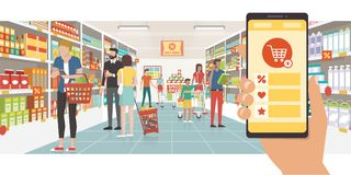 Grocery shopping app. On a smartphone and people buying products at the supermarket, technology and commerce concept vector illustration