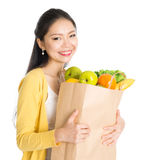 Grocery shopping Asian woman Stock Image