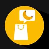 Grocery shopping bag banana fruit design Royalty Free Stock Photo