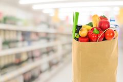 Grocery shopping bag stock photos
