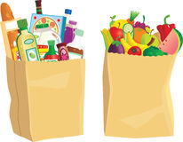 Grocery shopping bags. Two paper grocery shopping bags, full of various common food items. E.P.S. 10 vector file included with image, on white stock illustration