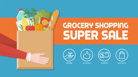 Grocery shopping. Banner with consumer holding a bag filled with vegetables, fruits and other food products, icons set vector illustration