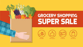 Grocery shopping. Banner with consumer holding a bag filled with vegetables, fruits and other food products, icons set stock illustration