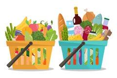 Grocery in a shopping basket and vegetables and fruits in basket. Vector illustration. Flat design vector illustration